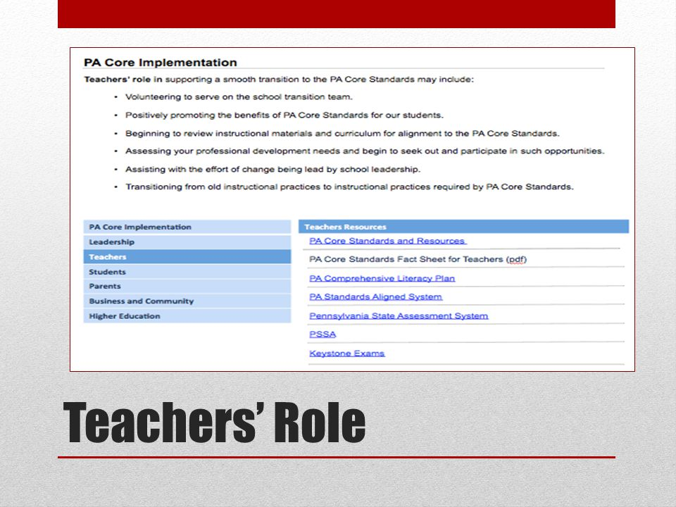 Teachers' Role