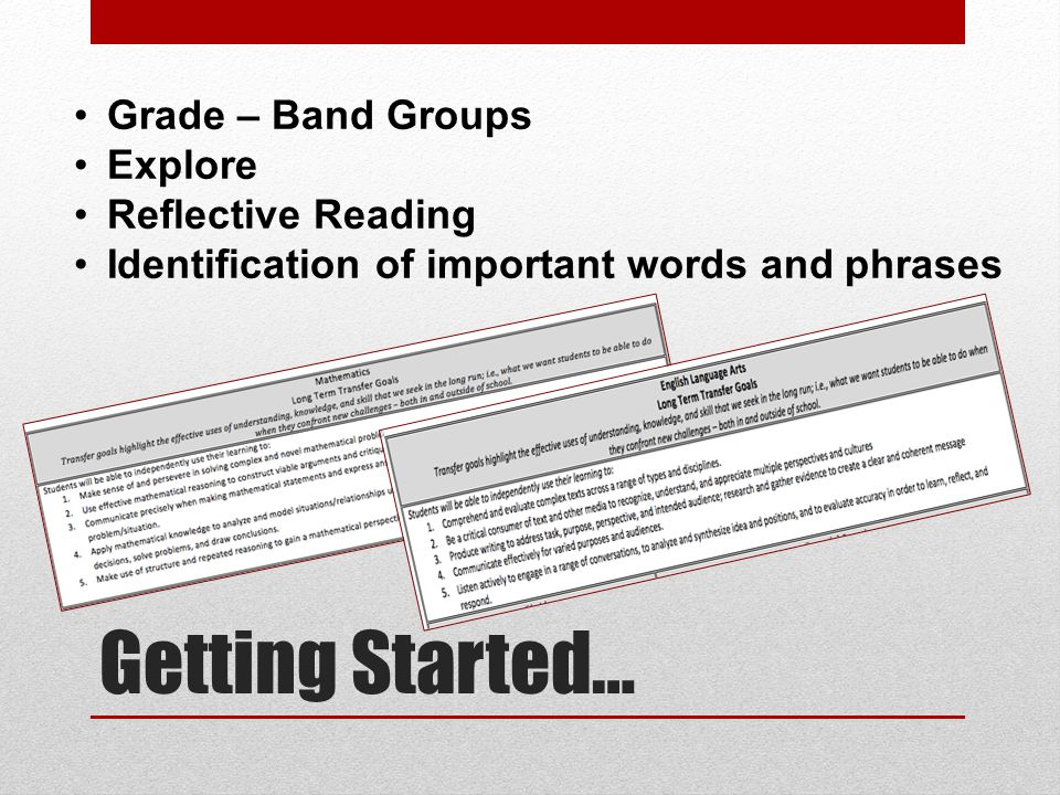 Getting Started… Grade – Band Groups Explore Reflective Reading Identification of important words and phrases