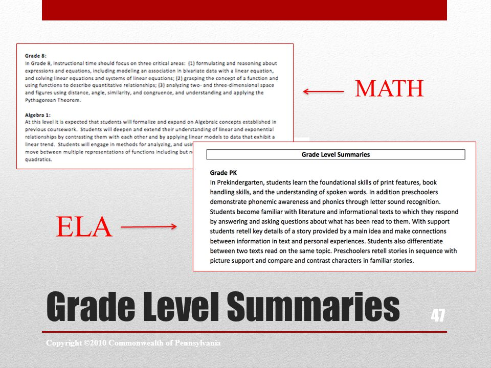Grade Level Summaries Copyright ©2010 Commonwealth of Pennsylvania 47 MATH ELA
