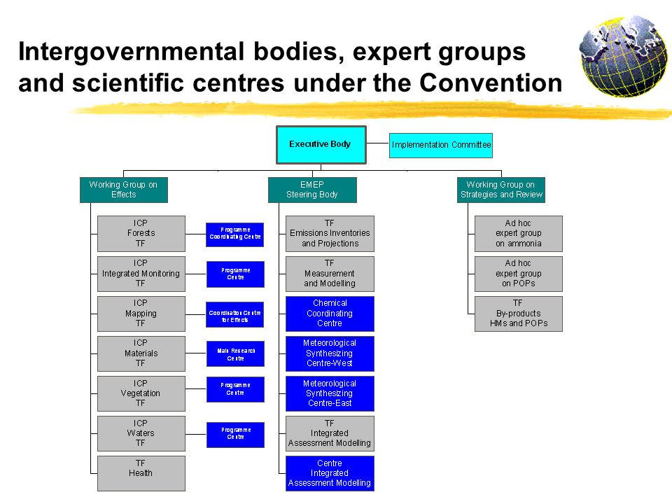 Intergovernmental bodies, expert groups and scientific centres under the Convention