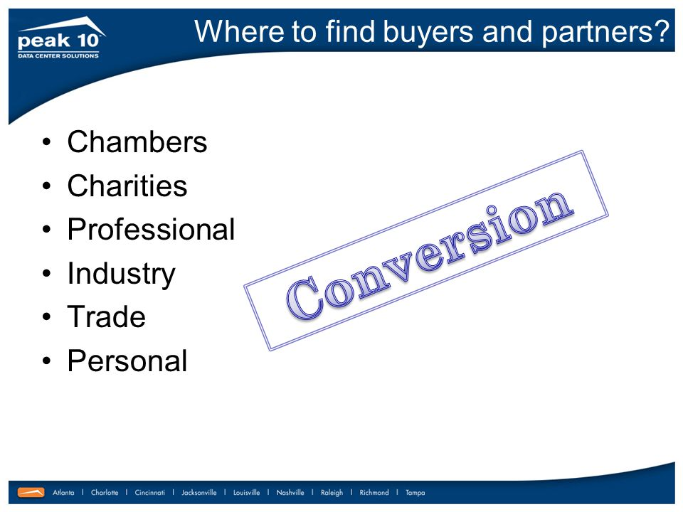Where to find buyers and partners Chambers Charities Professional Industry Trade Personal
