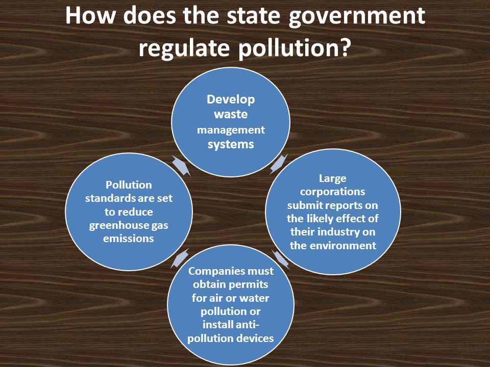 How does the state government regulate pollution.