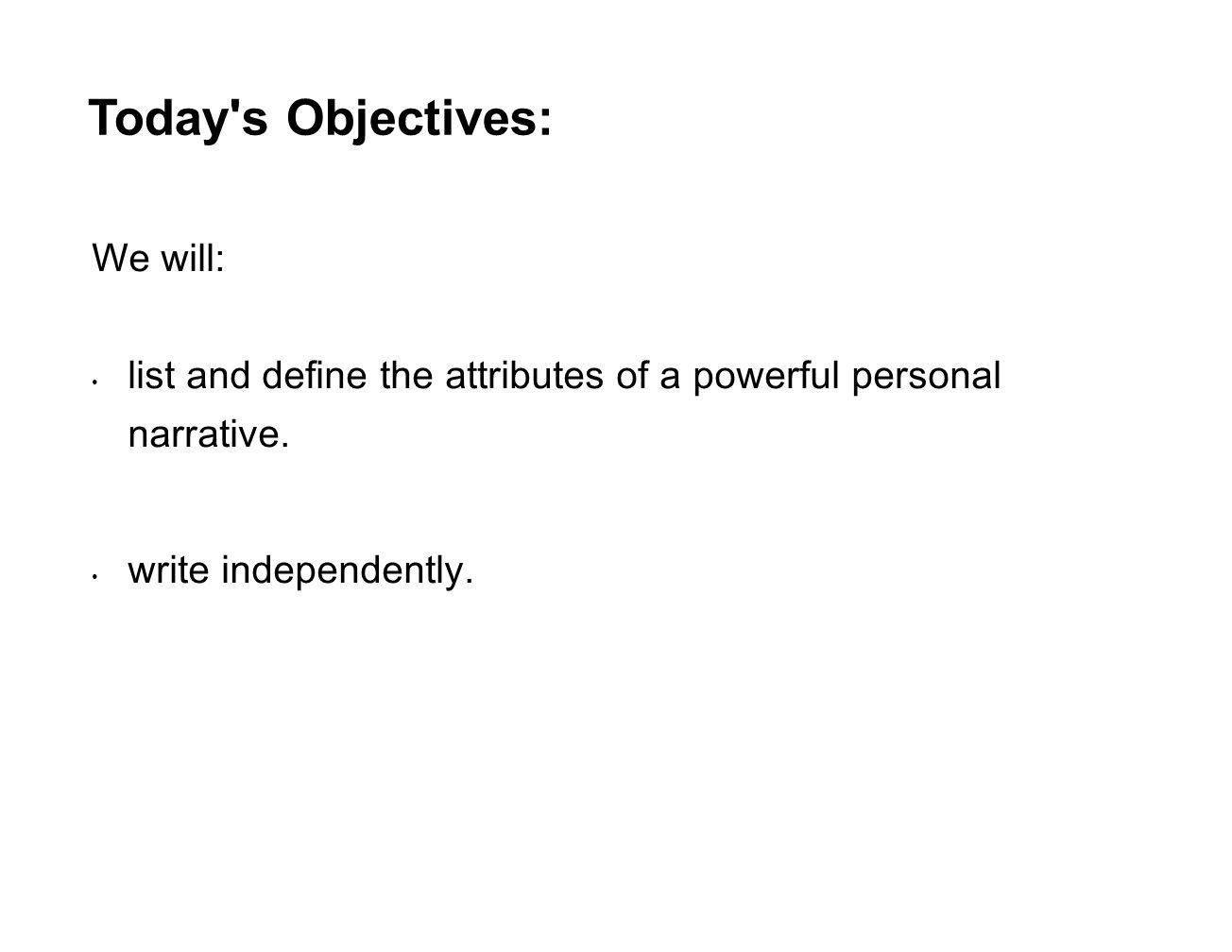 define personal narrative
