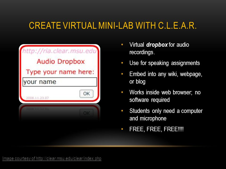 Virtual dropbox for audio recordings.