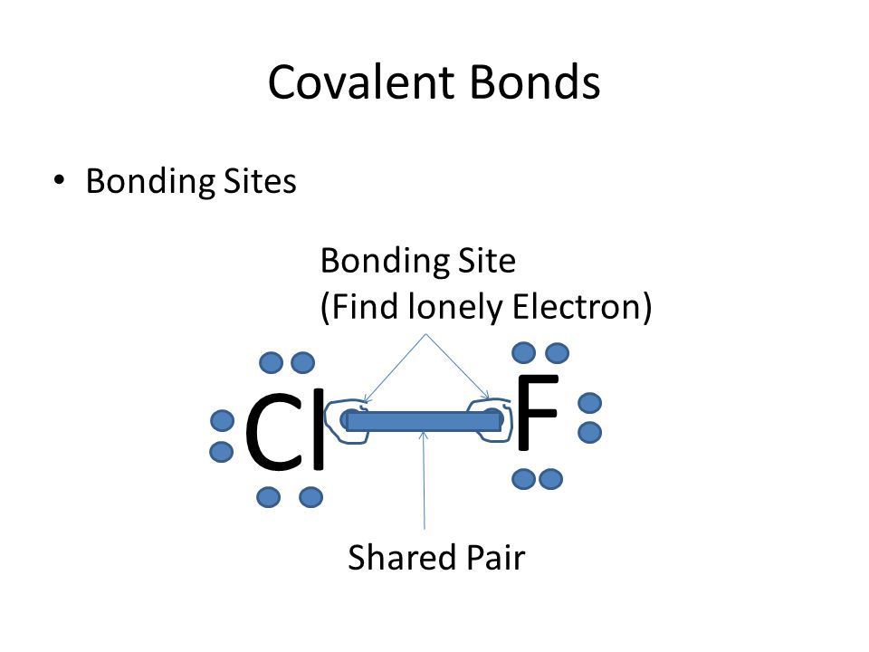 Covalent Bonds Bonding Sites Cl F Bonding Site (Find lonely Electron) Shared Pair