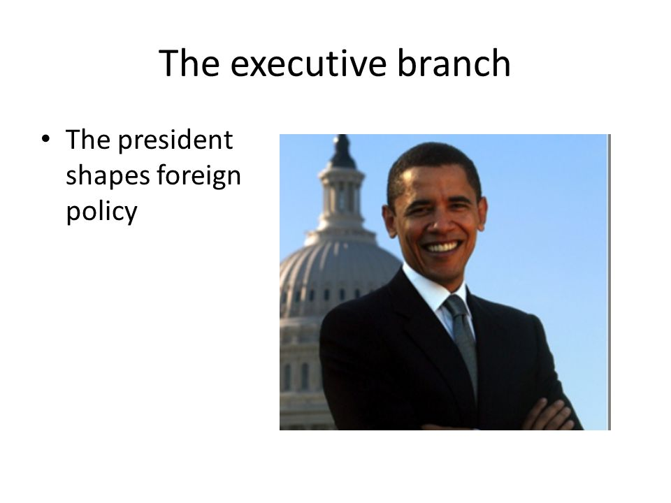 The executive branch The president shapes foreign policy