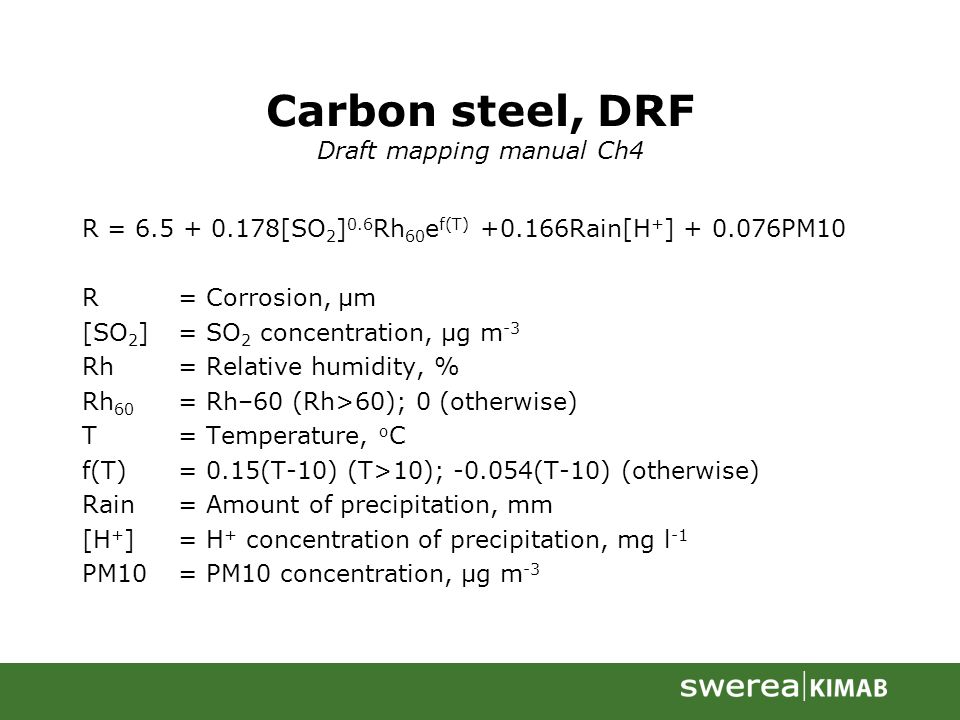 Carbon steel, DRF Draft mapping manual Ch4 R = 6.5 + 0.178[SO 2 ] 0.6 Rh 60 e f(T) +0.166Rain[H + ] + 0.076PM10 R= Corrosion, µm [SO 2 ]= SO 2 concentration, µg m -3 Rh= Relative humidity, % Rh 60 = Rh–60 (Rh>60); 0 (otherwise) T= Temperature, o C f(T)= 0.15(T-10) (T>10); -0.054(T-10) (otherwise) Rain= Amount of precipitation, mm [H + ]= H + concentration of precipitation, mg l -1 PM10= PM10 concentration, µg m -3