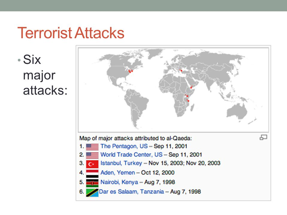 Terrorist Attacks Six major attacks: