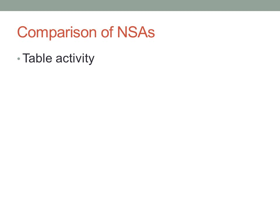 Comparison of NSAs Table activity