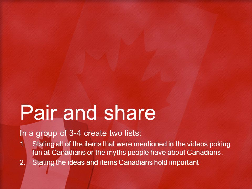 Pair and share In a group of 3-4 create two lists: 1.Stating all of the items that were mentioned in the videos poking fun at Canadians or the myths people have about Canadians.