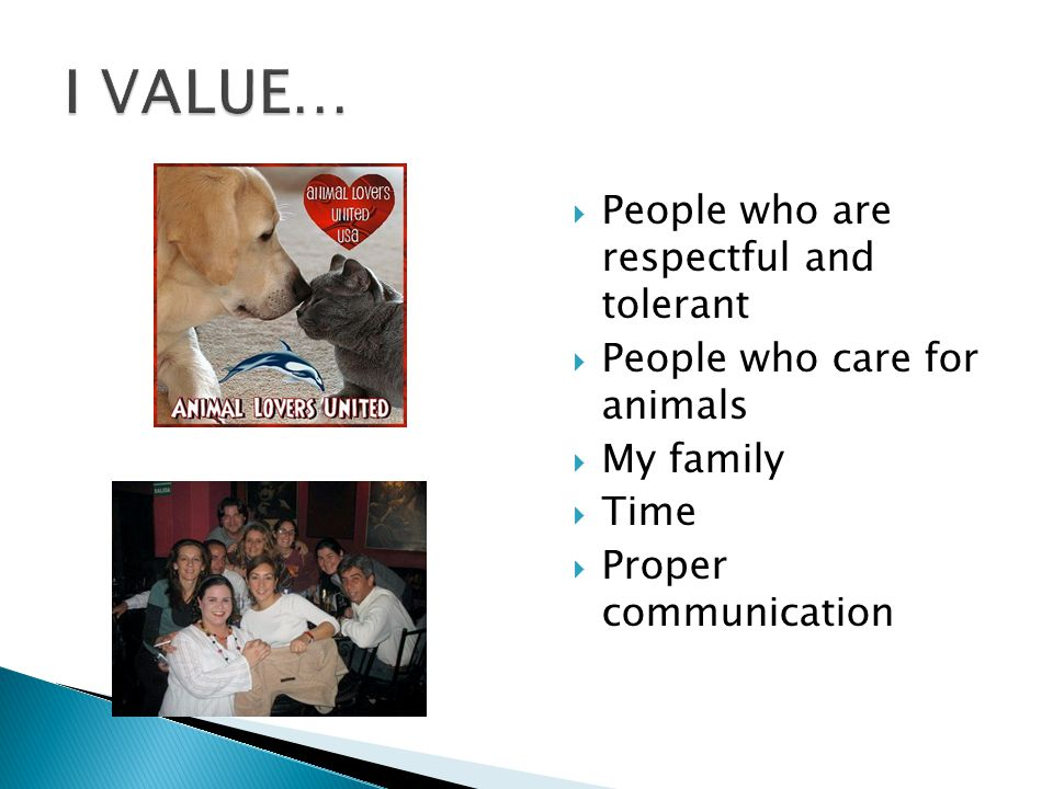  People who are respectful and tolerant  People who care for animals  My family  Time  Proper communication