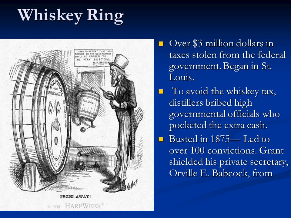 Whiskey Ring Over $3 million dollars in taxes stolen from the federal government.