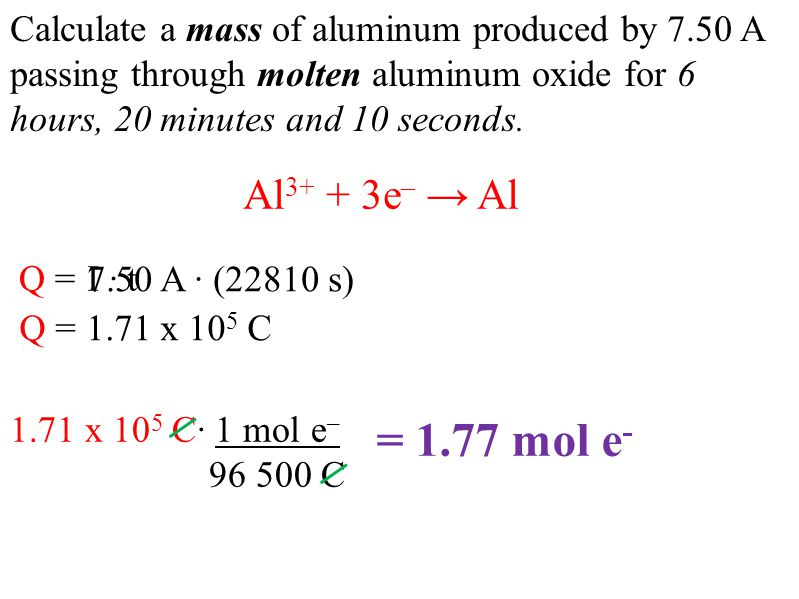 Calculate a mass of aluminum produced by 7.50 A passing through molten aluminum oxide for 6 hours, 20 minutes and 10 seconds.