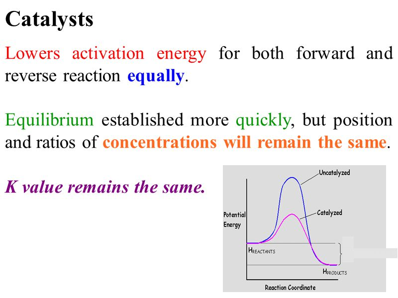 Catalysts Lowers activation energy for both forward and reverse reaction equally.