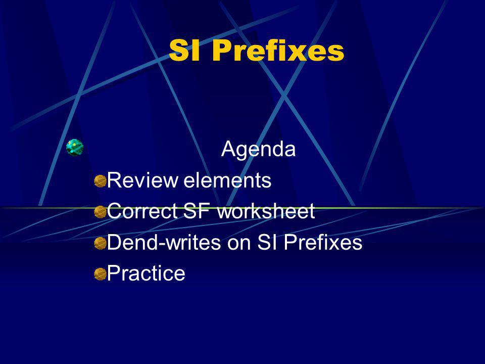 SI Prefixes Agenda Review elements Correct SF worksheet Dend-writes on SI Prefixes Practice