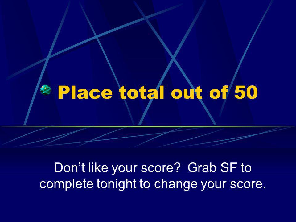 Place total out of 50 Don't like your score Grab SF to complete tonight to change your score.
