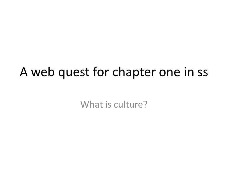 A web quest for chapter one in ss What is culture