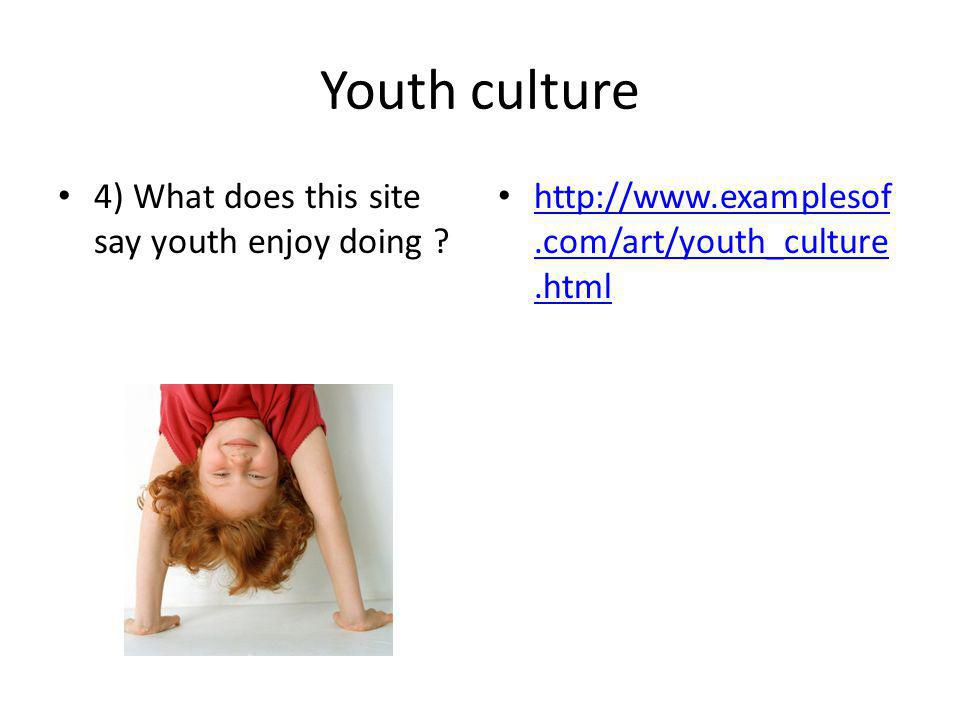 Youth culture 4) What does this site say youth enjoy doing .