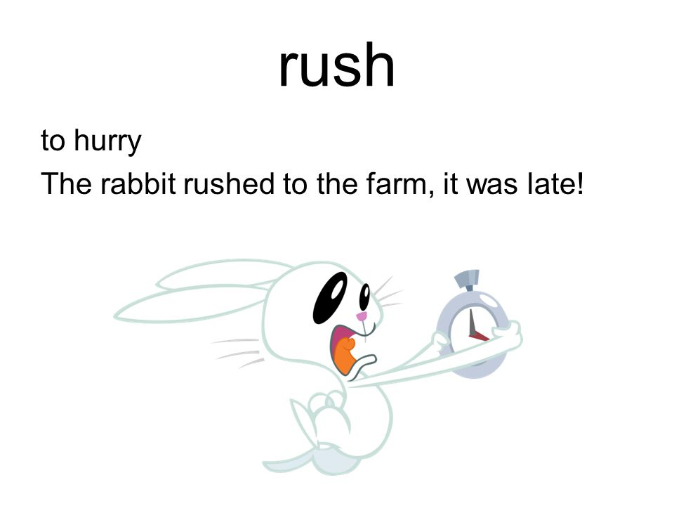 rush to hurry The rabbit rushed to the farm, it was late!