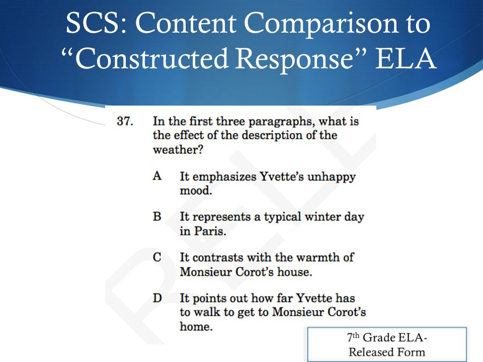 SCS: Content Comparison to Constructed Response ELA