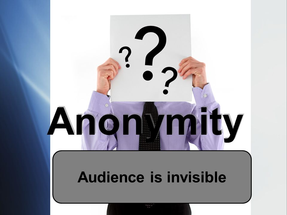 Anonymity Audience is invisible