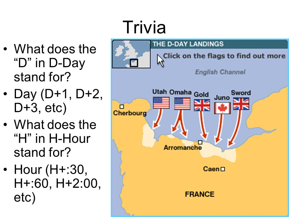 Trivia What does the D in D-Day stand for.