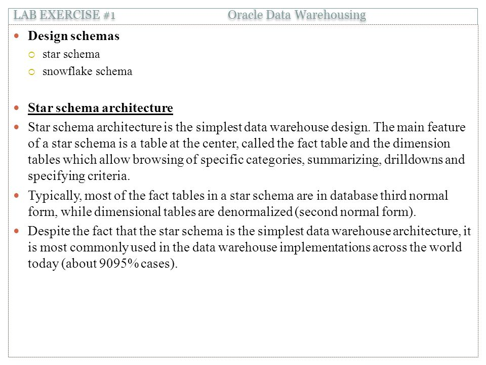 Design schemas  star schema  snowflake schema Star schema architecture Star schema architecture is the simplest data warehouse design.