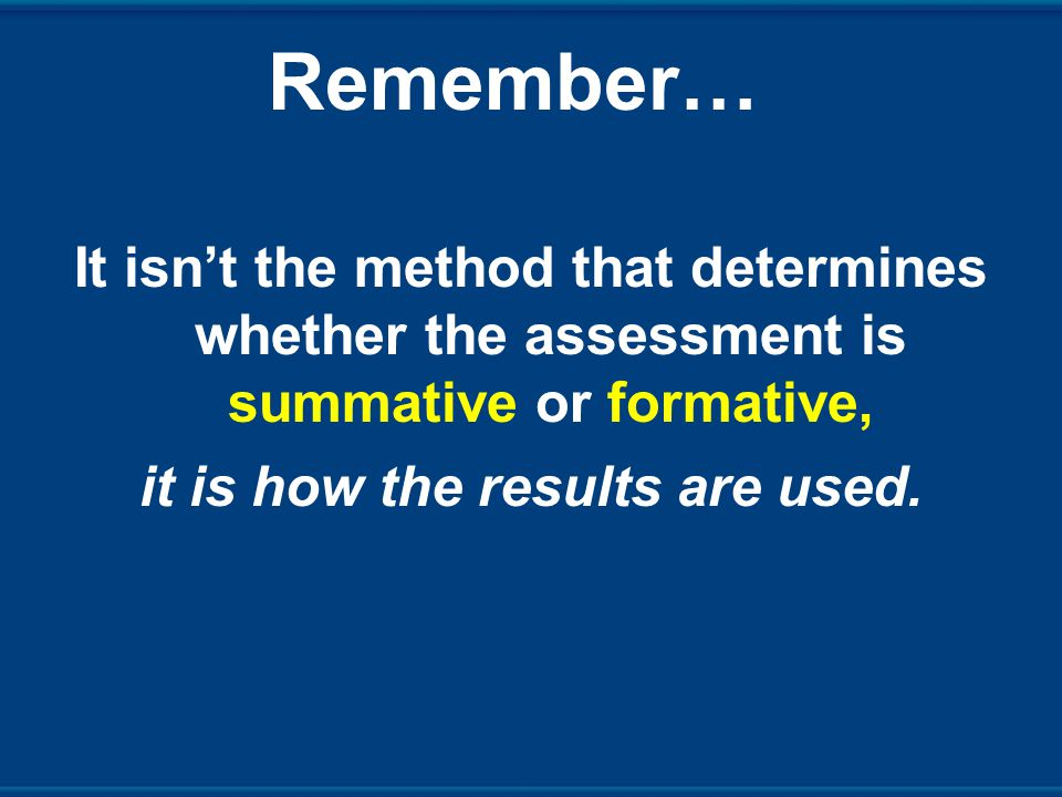 Remember… It isn't the method that determines whether the assessment is summative or formative, it is how the results are used.