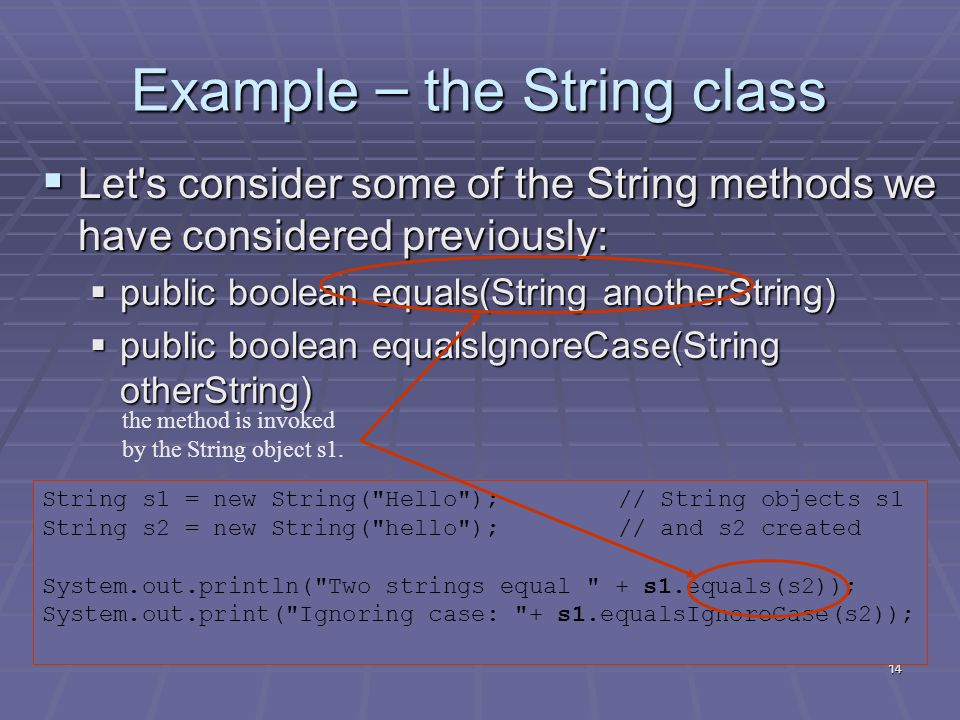 14 Example – the String class  Let s consider some of the String methods we have considered previously:  public boolean equals(String anotherString)  public boolean equalsIgnoreCase(String otherString) String s1 = new String( Hello );// String objects s1 String s2 = new String( hello );// and s2 created System.out.println( Two strings equal + s1.equals(s2)); System.out.print( Ignoring case: + s1.equalsIgnoreCase(s2)); the method is invoked by the String object s1.