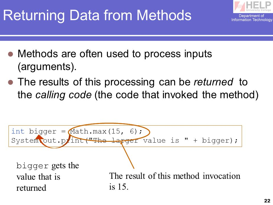 22 Returning Data from Methods Methods are often used to process inputs (arguments).