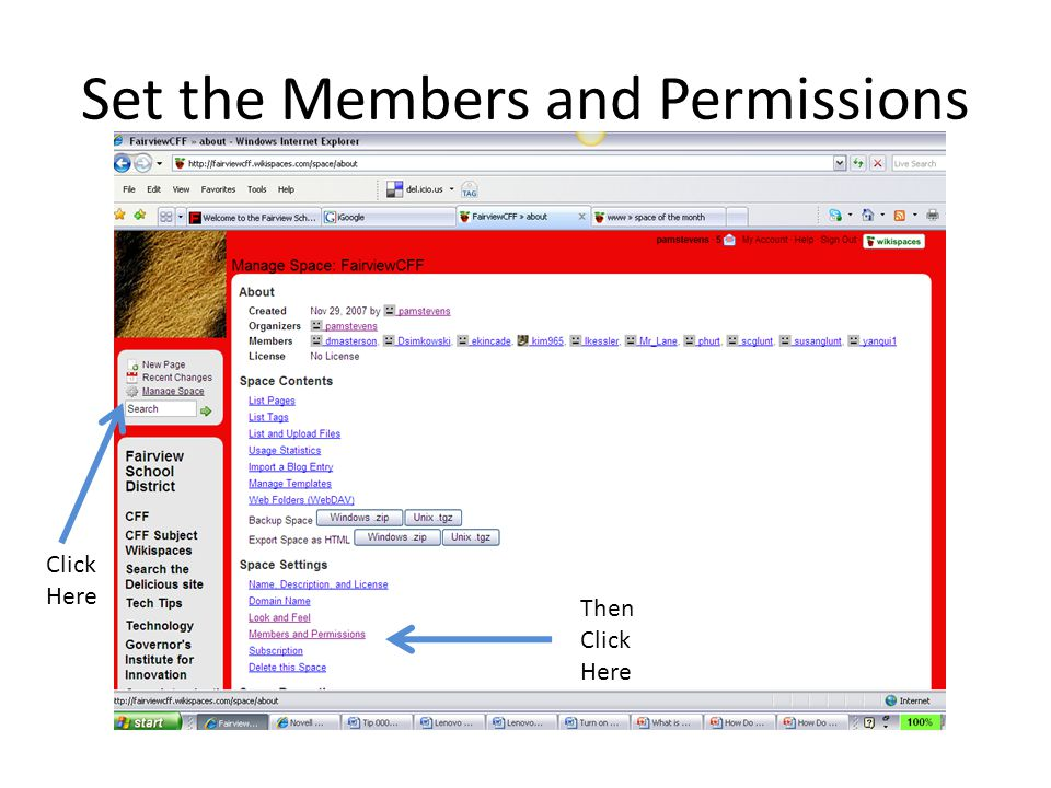Set the Members and Permissions Click Here Then Click Here