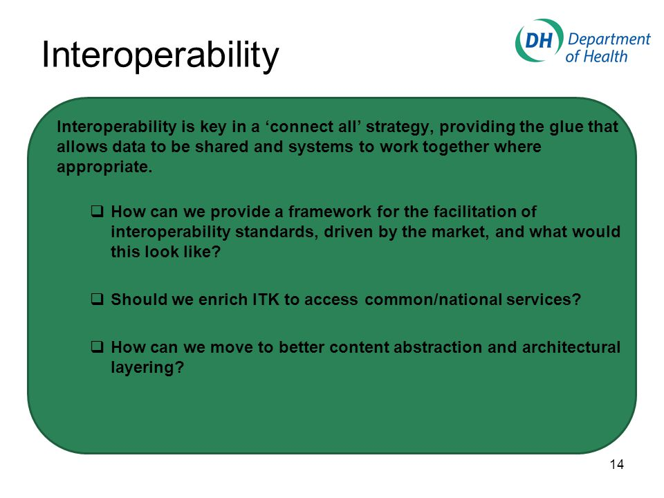 Interoperability Interoperability is key in a 'connect all' strategy, providing the glue that allows data to be shared and systems to work together where appropriate.