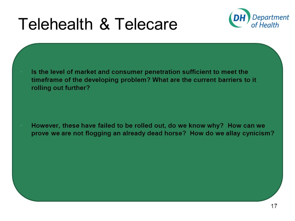 Telehealth & Telecare Is the level of market and consumer penetration sufficient to meet the timeframe of the developing problem.