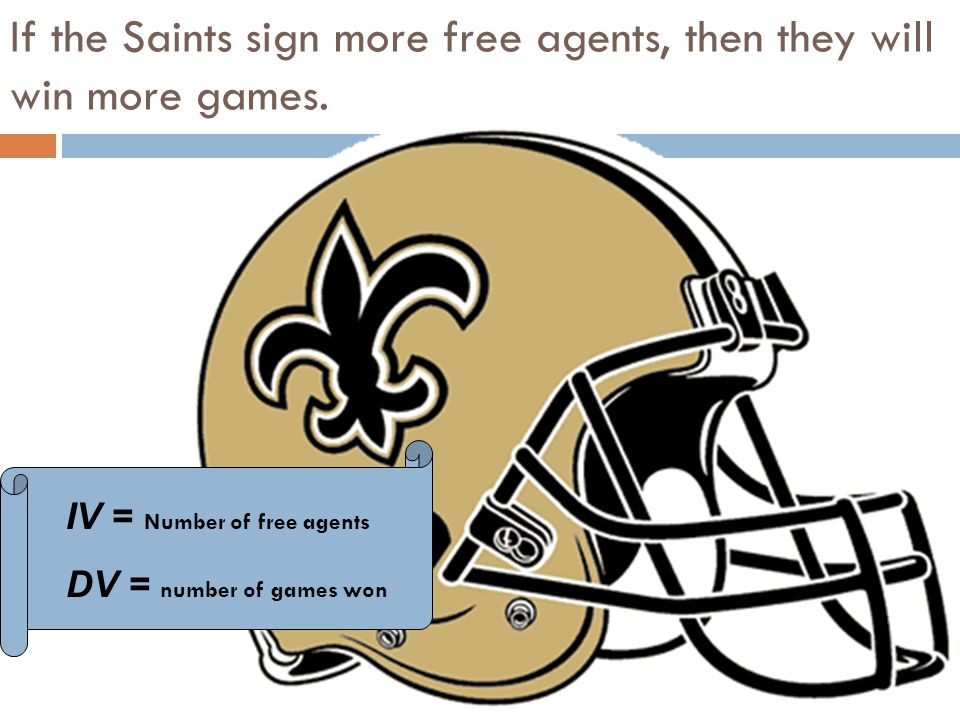 IV = Number of free agents DV = number of games won If the Saints sign more free agents, then they will win more games.