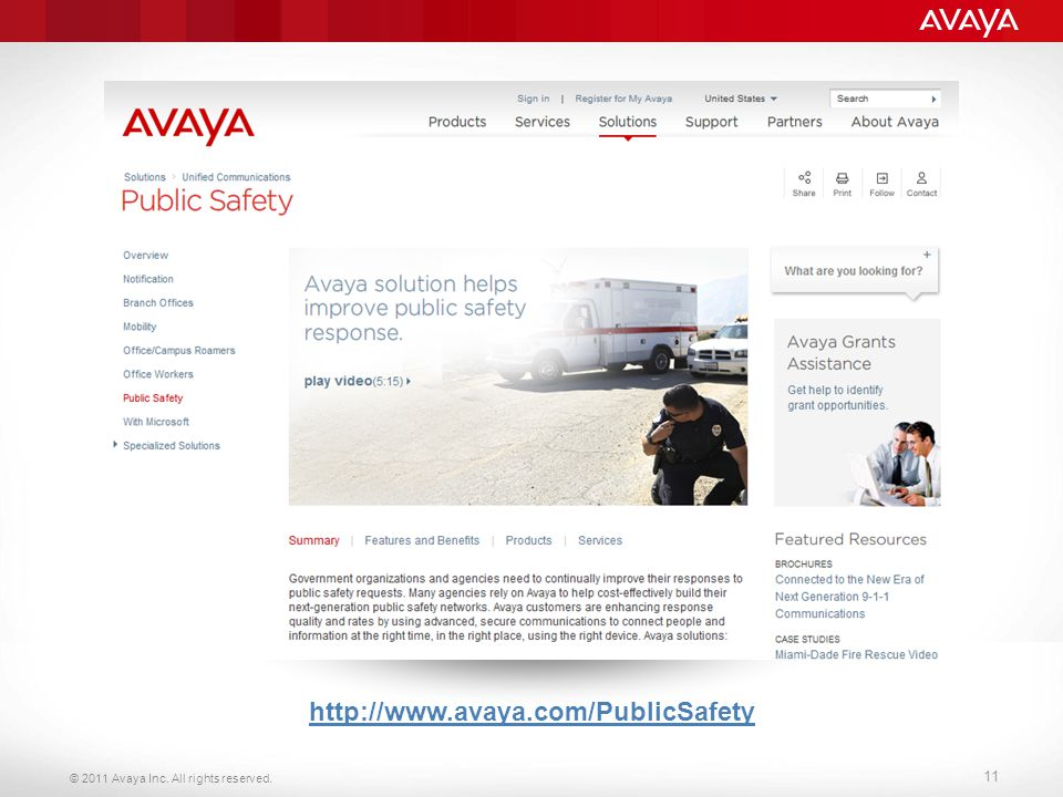© 2011 Avaya Inc. All rights reserved. 11 http://www.avaya.com/PublicSafety