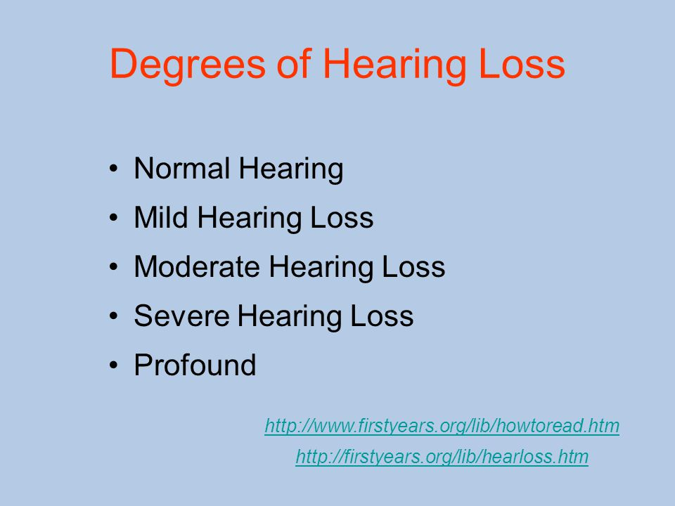 Degrees of Hearing Loss Normal Hearing Mild Hearing Loss Moderate Hearing Loss Severe Hearing Loss Profound http://www.firstyears.org/lib/howtoread.htm http://firstyears.org/lib/hearloss.htm