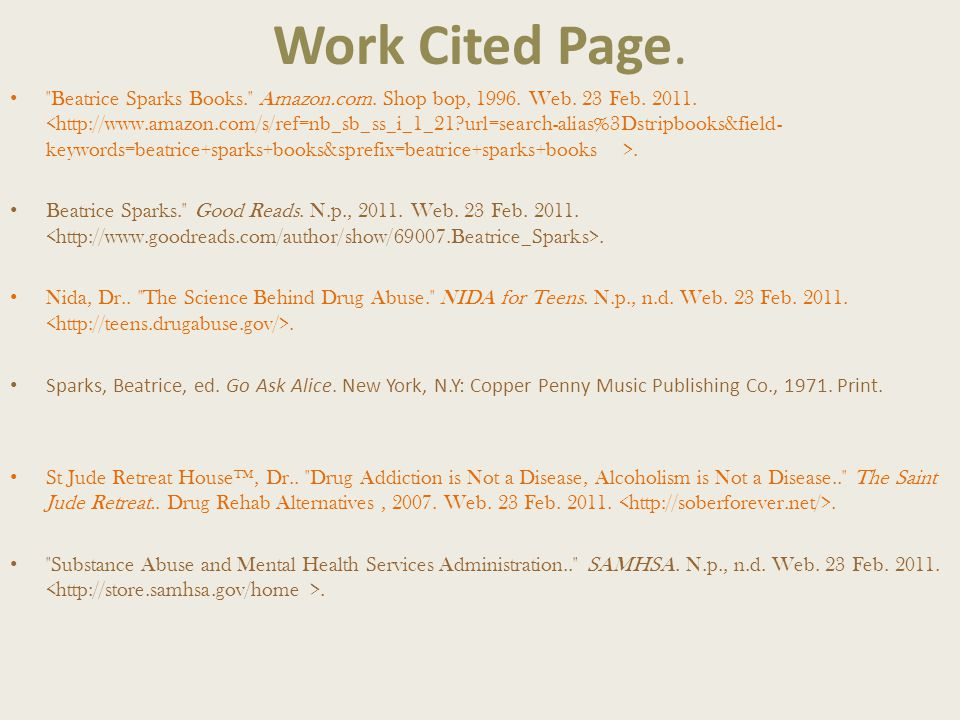 Work Cited Page. Beatrice Sparks Books. Amazon.com.