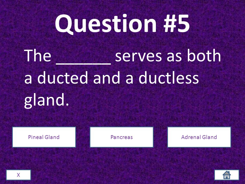 Question #5 The ______ serves as both a ducted and a ductless gland.