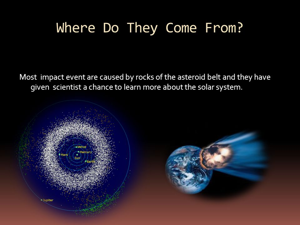 An impact event is when an asteroid, meteorite or comet comes into a planet's gravitational field and collides with it.