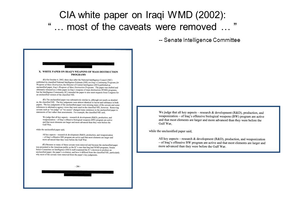 CIA white paper on Iraqi WMD (2002): … most of the caveats were removed … -- Senate Intelligence Committee