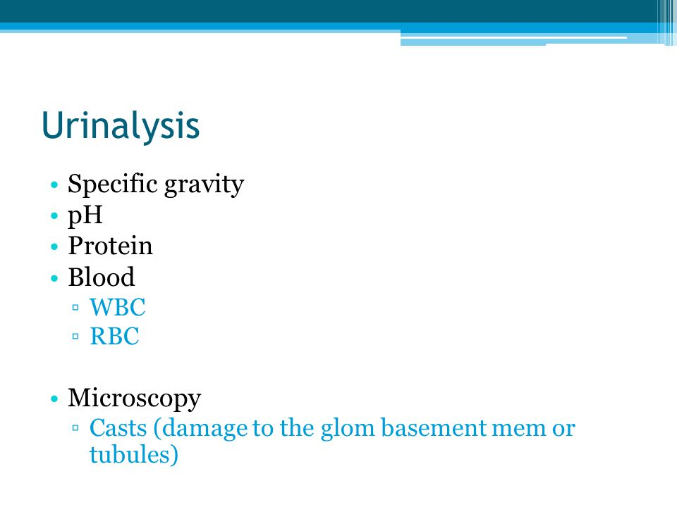 Urinalysis Specific gravity pH Protein Blood ▫WBC ▫RBC Microscopy ▫Casts (damage to the glom basement mem or tubules)