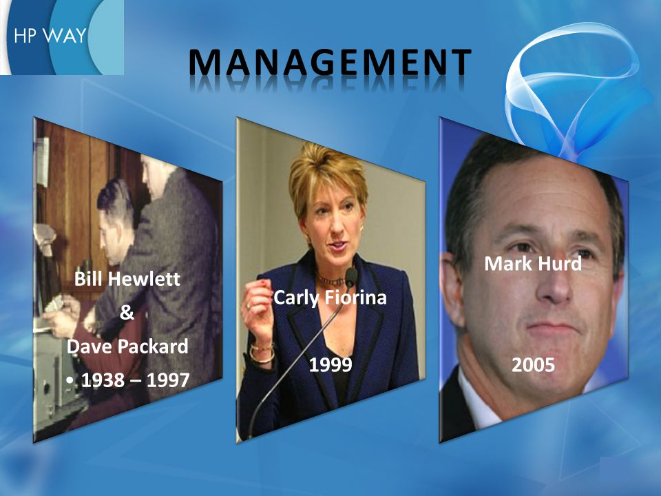 Bill Hewlett & Dave Packard 1938 – 1997 Carly Fiorina 1999 Mark Hurd 2005