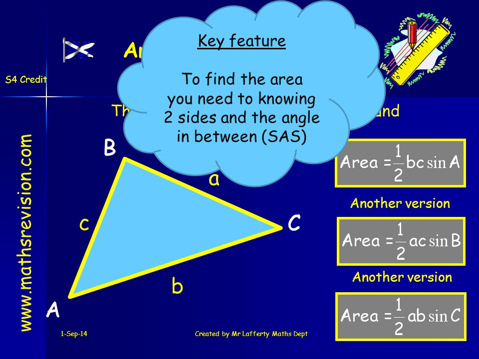 1-Sep-14Created by Mr Lafferty Maths Dept Area of ANY Triangle www.mathsrevision.com S4 Credit A B C A a B b C c The area of ANY triangle can be found by the following formula.