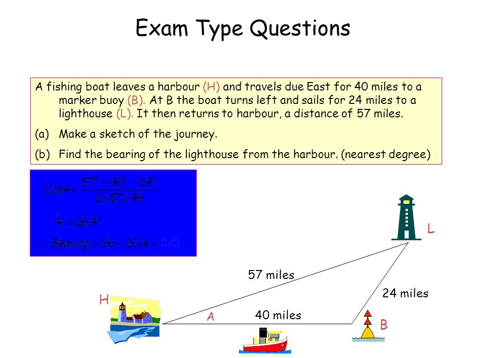 A fishing boat leaves a harbour (H) and travels due East for 40 miles to a marker buoy (B).