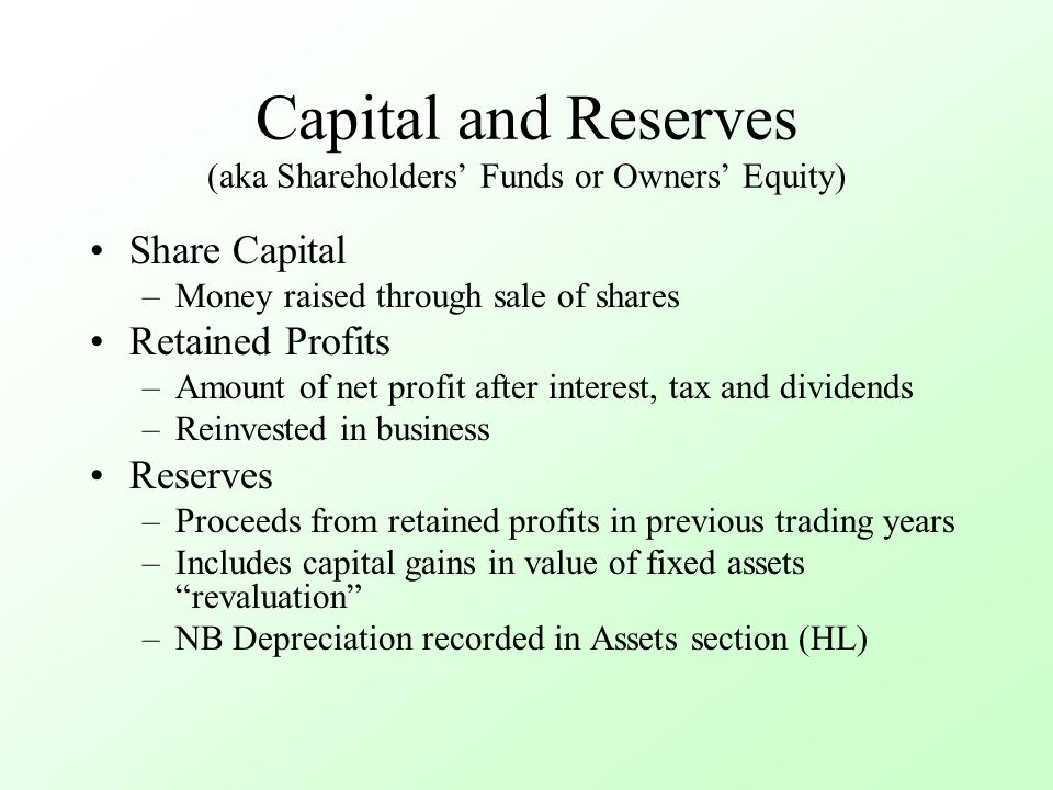Capital and Reserves (aka Shareholders' Funds or Owners' Equity) Share Capital –Money raised through sale of shares Retained Profits –Amount of net profit after interest, tax and dividends –Reinvested in business Reserves –Proceeds from retained profits in previous trading years –Includes capital gains in value of fixed assets revaluation –NB Depreciation recorded in Assets section (HL)