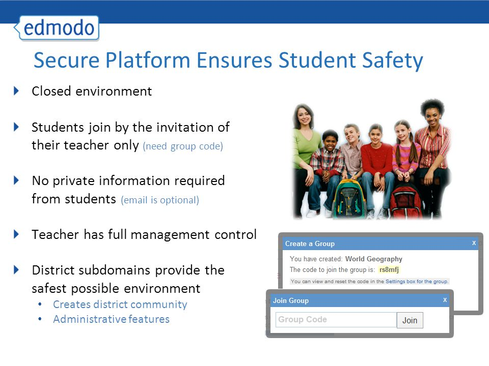 Closed environment Students join by the invitation of their teacher only (need group code) No private information required from students (email is optional) Teacher has full management control District subdomains provide the safest possible environment Creates district community Administrative features Secure Platform Ensures Student Safety