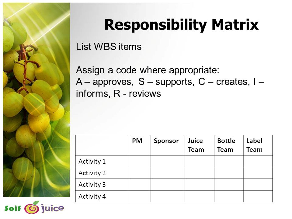 18 List WBS items Assign a code where appropriate: A – approves, S – supports, C – creates, I – informs, R - reviews PMSponsorJuice Team Bottle Team Label Team Activity 1 Activity 2 Activity 3 Activity 4 Responsibility Matrix