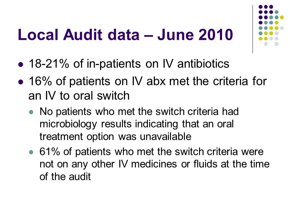 Local Audit data – June 2010 18-21% of in-patients on IV antibiotics 16% of patients on IV abx met the criteria for an IV to oral switch No patients who met the switch criteria had microbiology results indicating that an oral treatment option was unavailable 61% of patients who met the switch criteria were not on any other IV medicines or fluids at the time of the audit
