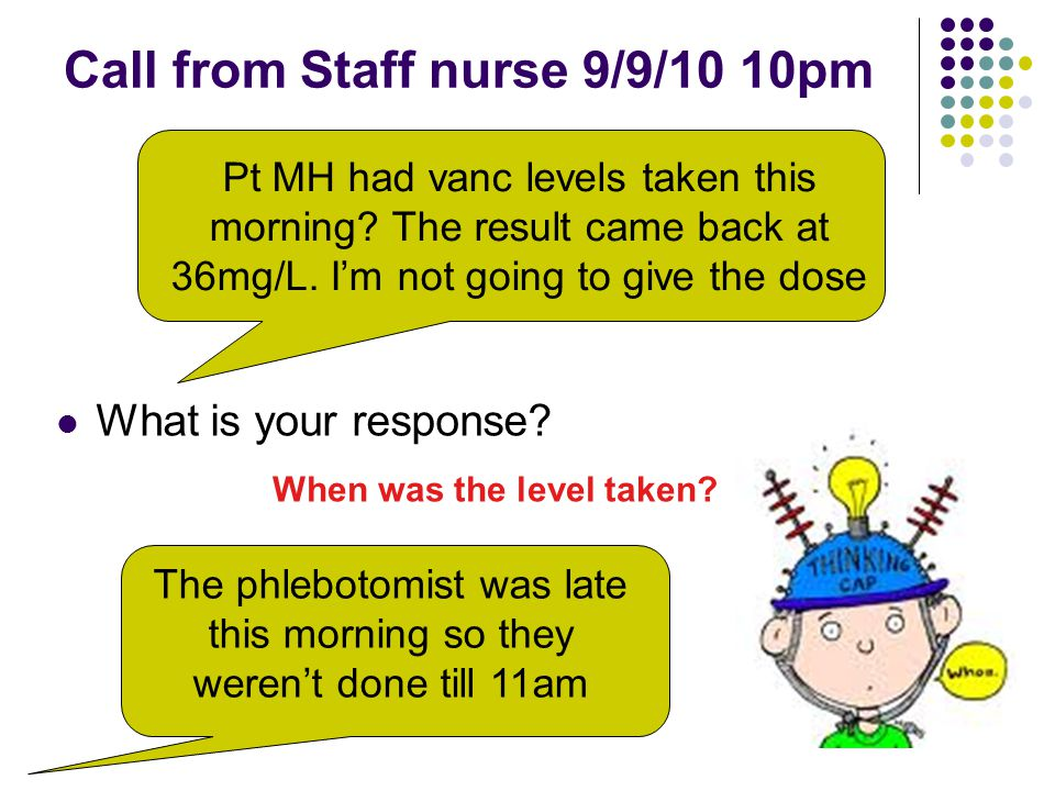 Call from Staff nurse 9/9/10 10pm What is your response.