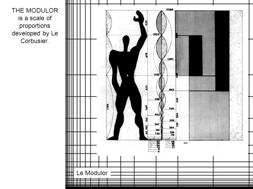 THE MODULOR is a scale of proportions developed by Le Corbusier. Le Modulor